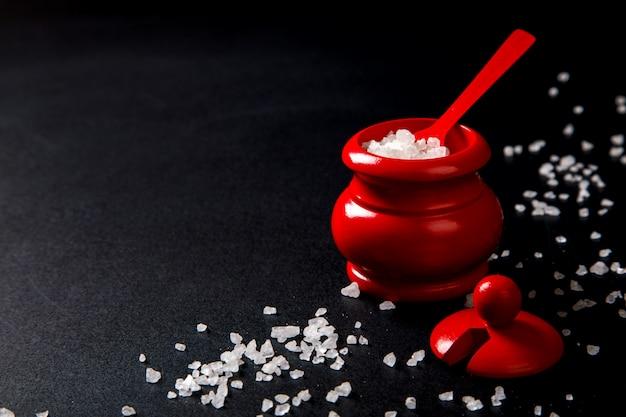 Zeezout in houten rode zoutschudbeker met lepel