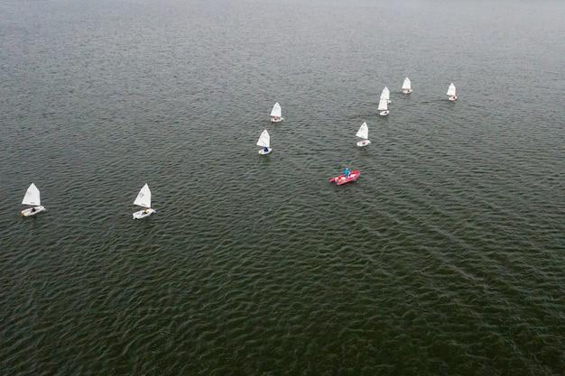 Zeilregatta op zee. veel witte zeilen drijven op het water.
