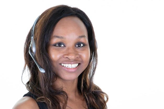 Zekere de klantendienst agent wearing headset van de vrouwenklant bij bureau