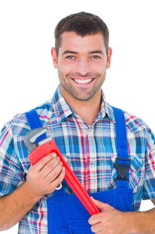 Zekere mannelijke de aapmoersleutel van de reparateurholding