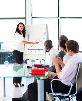 Zekere onderneemster die in een presentatie glimlacht