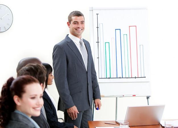 Zekere zakenman die een presentatie doet
