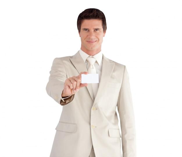 Zekere zakenman met een witte kaart