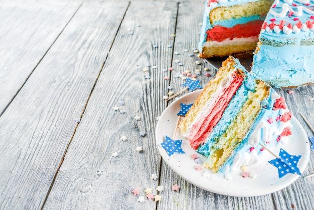 Zelfgemaakte amerikaanse independence day cake