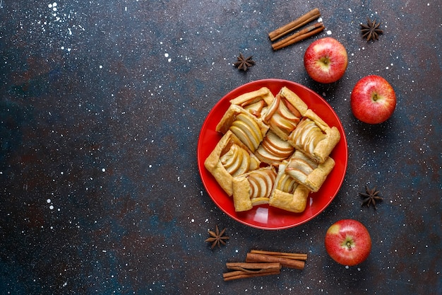 Zelfgemaakte galette met appels en kaneel