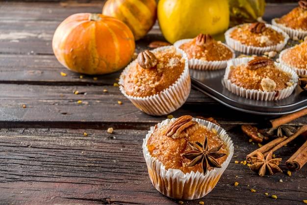 Zelfgemaakte herfst pompoenmuffins