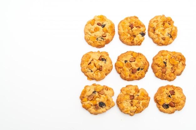 Zelfgemaakte koekjes met cornflake rozijn en amandelen