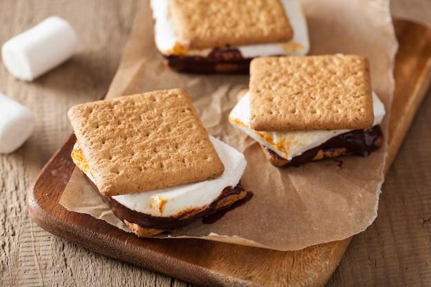 Zelfgemaakte marshmallow s'mores met chocolade op crackers