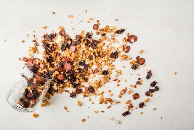 Zelfgemaakte muesli met gedroogde vruchten en noten
