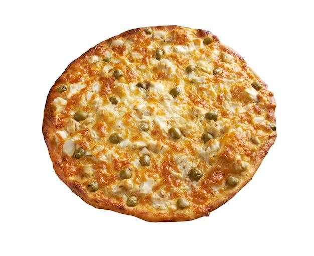 Zelfgemaakte pizza met roodbaars. close-up .. geïsoleerd op wit