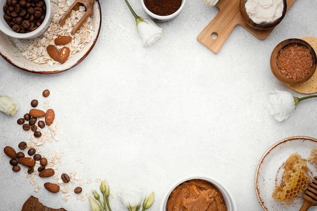 Zelfgemaakte remedie met rond frame met honingraat