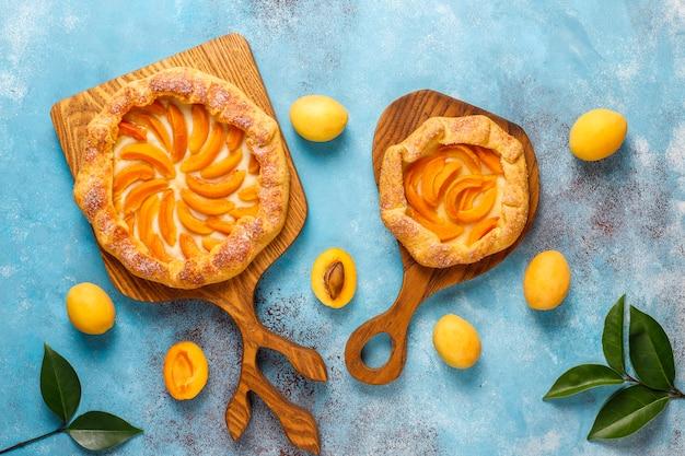 Zelfgemaakte rustieke abrikozengalettes met verse biologische abrikozenvruchten.