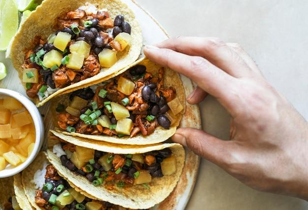 Zelfgemaakte vegan taco food fotografie