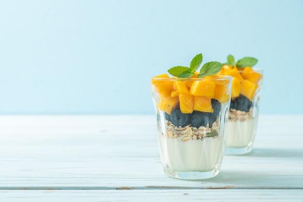 Zelfgemaakte verse mango en verse bosbessen met yoghurt en granola - gezonde voeding