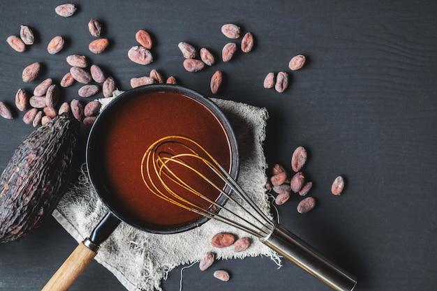 Zelfgemaakte warme chocolademelk en chocoladeroom in pan
