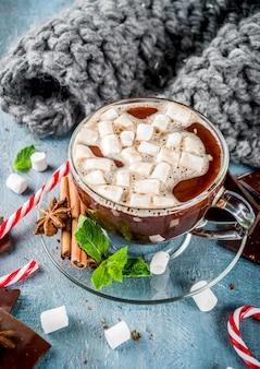 Zelfgemaakte warme chocolademelk met munt, riet van het suikergoed en marshmallow, lichtblauwe achtergrond met warme deken,