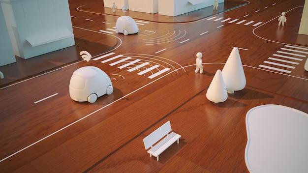 Zelfrijdende auto's - 3d-animatie