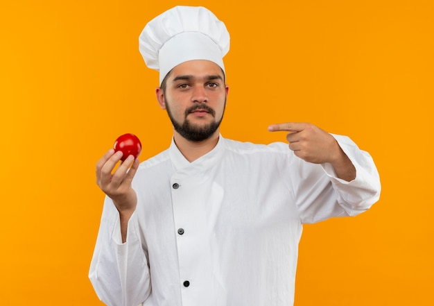 Zelfverzekerde jonge mannelijke kok in chef-kok uniform houden en wijzend op tomaat geïsoleerd op oranje muur