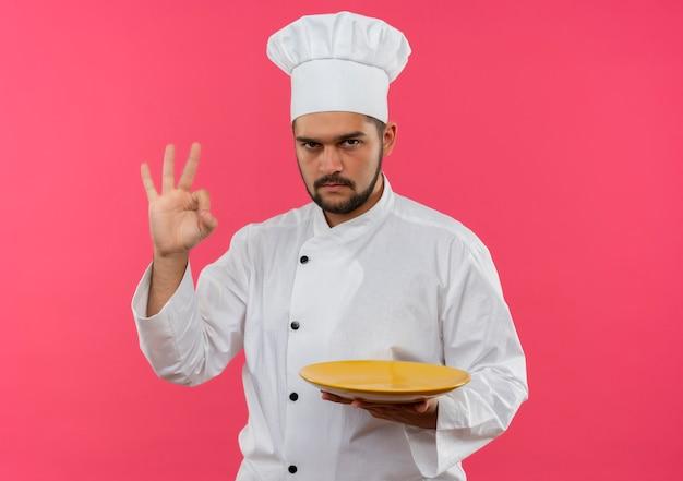 Zelfverzekerde jonge mannelijke kok in uniform van de chef-kok die een bord vasthoudt en een goed teken doet dat op een roze muur met kopieerruimte wordt geïsoleerd