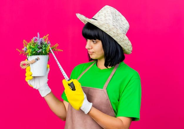 Zelfverzekerde jonge vrouwelijke tuinman in uniform dragen tuinieren hoed bloempot meten met meetlint geïsoleerd op roze achtergrond met kopie ruimte