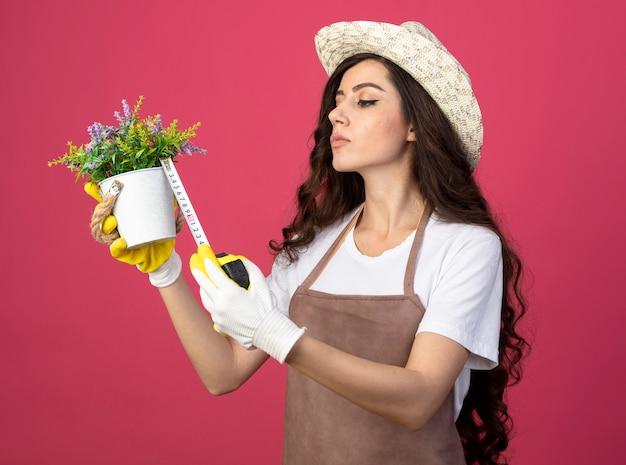 Zelfverzekerde jonge vrouwelijke tuinman in uniform dragen tuinieren hoed bloempot meten met meetlint geïsoleerd op roze muur met kopie ruimte