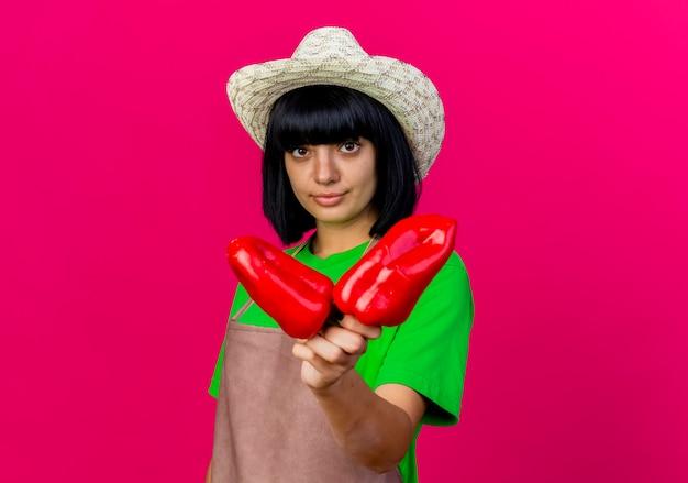 Zelfverzekerde jonge vrouwelijke tuinman in uniform dragen tuinieren hoed houdt rode paprika