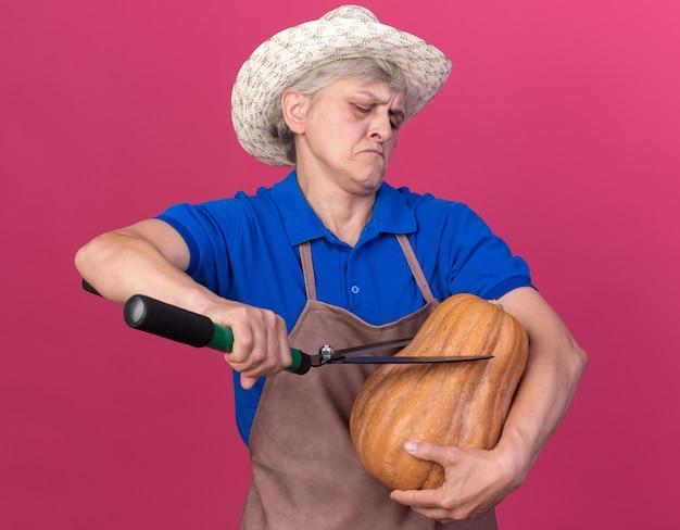 Zelfverzekerde oudere vrouwelijke tuinman met een tuinhoed met een tuinschaar en pompoen geïsoleerd op een roze muur met kopieerruimte