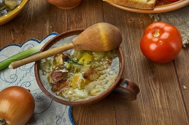 Zelnacka, boheemse koolsoep, tsjechische keuken, traditionele geassorteerde gerechten, bovenaanzicht.