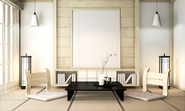 Zen kamer interieur houten muur op tatami mat vloer met posterframe, lage tafel en fauteuil