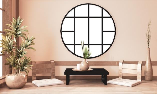 Zen kamer interieur, ryokan kamer en decoratie houten, aardetoon. 3d-rendering