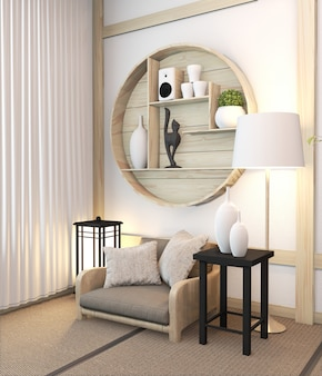 Zen modern kamer japans interieur met plank houten kamer japan en tatami mat. 3d-rendering