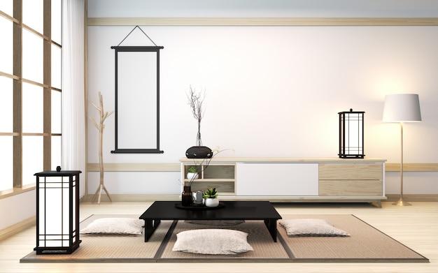 Zenkamer met lage tafel en kussen op tatami-mat in japanse stijl