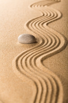 Zentuin met aangeharkt zand en een gladde steen