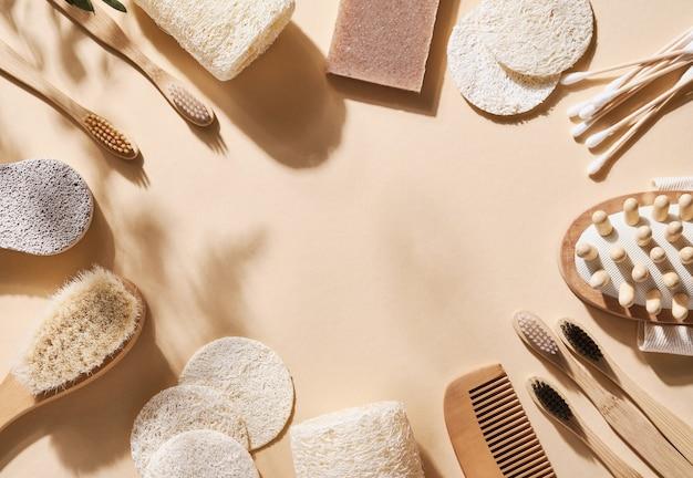 Zero waste badkameraccessoires haarborstel, bamboe tandenborstel