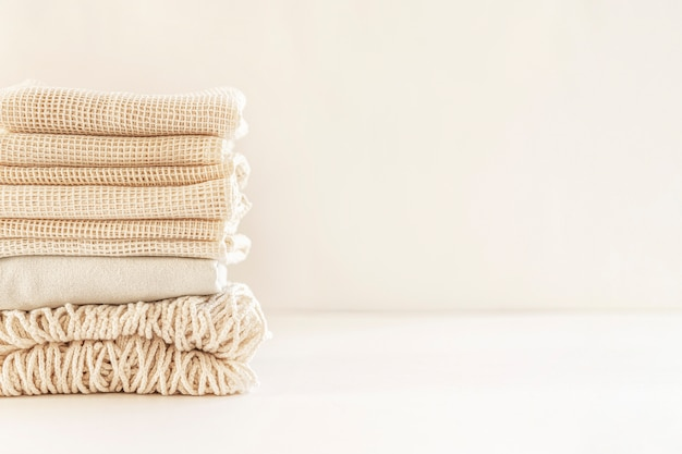 Zero waste minimale samenstelling met zakken voor opslag