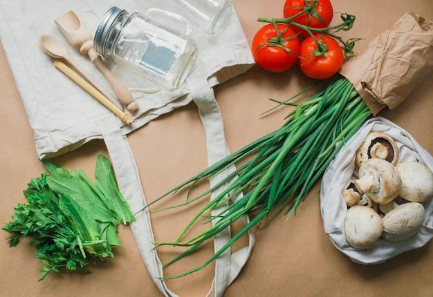Zero waste shopping concept voor gratis plastic