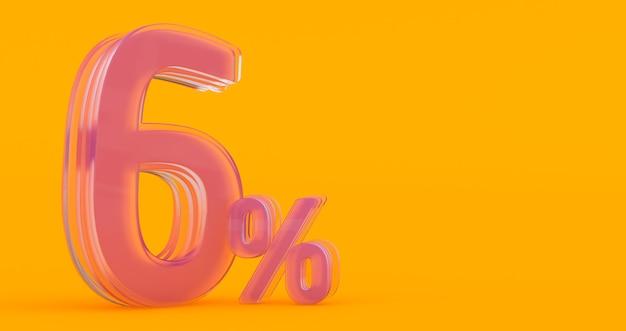 Zes (6) procent in glas, glas 3d nummer op gekleurde banner achtergrond, 3d render