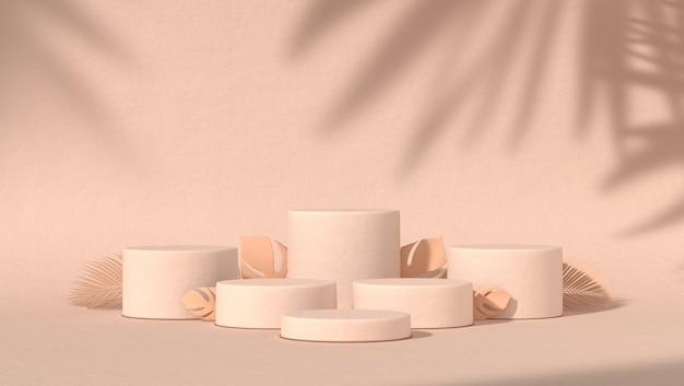 Zes abstract podium voor cosmetische productplaatsing op natuurlijke achtergrond