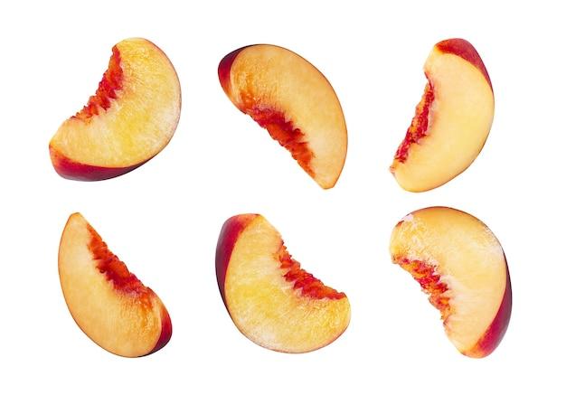 Zes gladde plakjes nectarine zonder pitine