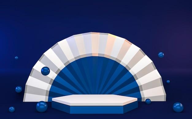 Zeshoek blauw abstracte geometrische achtergrond, het blauwe concept van het japanse stijlpodium. 3d teruggeven