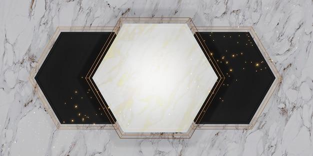 Zeshoek frame textuur lege marmeren achtergrond voor tekst en koopwaar 3d illustratie
