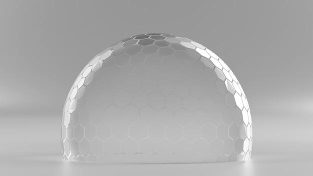 Zeshoek raster bol nano schild in halftoon kleur