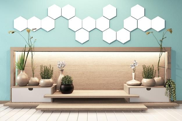 Zeshoek tegellamp op verborgen lichte muur en houten kast minimaal op moderne mint zen kamer japanse stijl