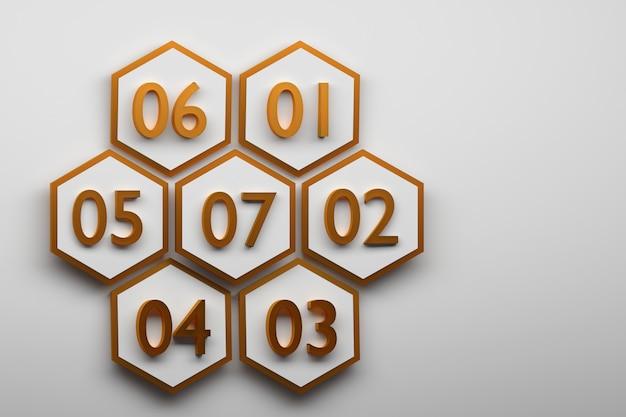 Zeshoeken met grote gouden cijfers