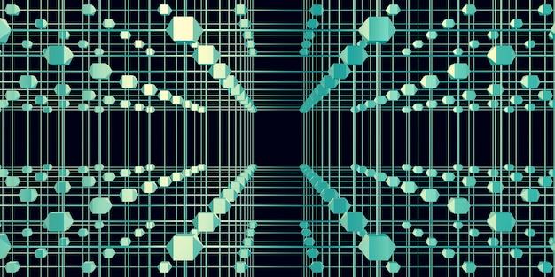 Zeshoekig raster atomaire structuur cyberpunk stijl neon licht 3d illustratie