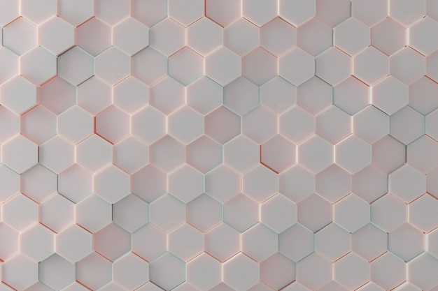 Zeshoekig tegelpatroon als achtergrond met zacht pastelkleurcolotlicht. 3d render
