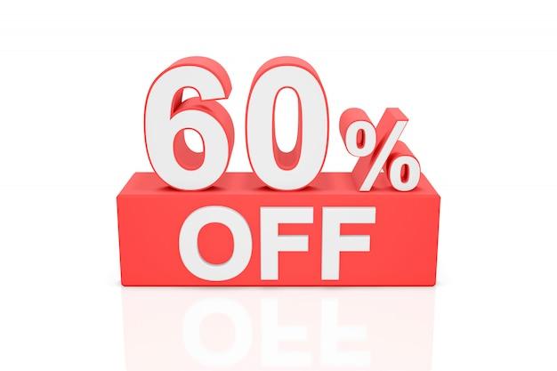 Zestig procent korting. verkoop banner. 3d-weergave