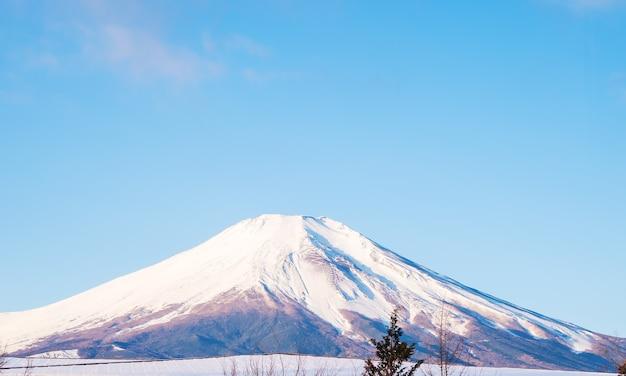 Zet fuji mooi landschap witte heldere hemel op