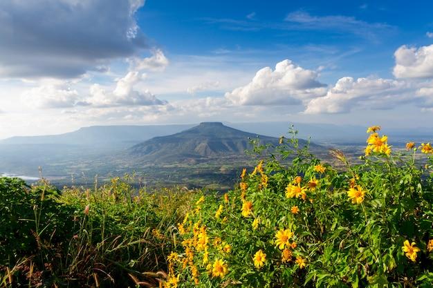 Zet fuji op bij loei-provincie, thailand. deze berg lijkt op de berg fuji in japan