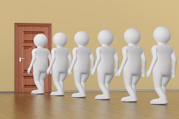 Zet mensen in de rij bij de deur. 3d-weergave